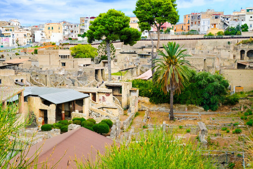 Herculaneum, ancient Roman town. View on archeological site, Ercolano, Italy