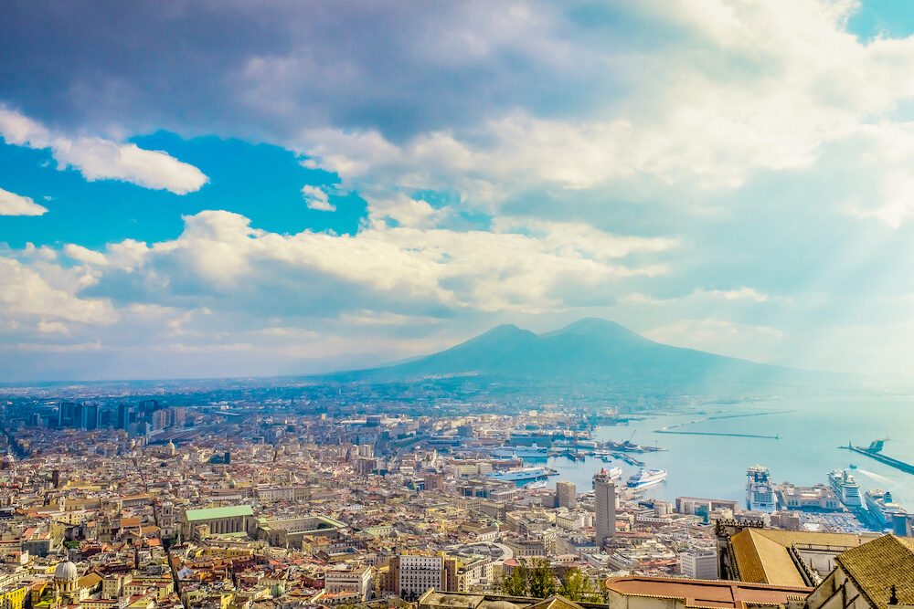 Napoli or Naples and mount Vesuvius in the background at sunset in a summer day