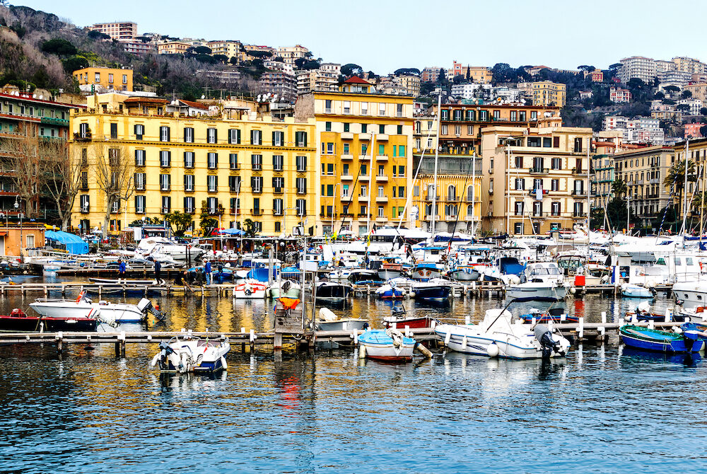 The picturesque marina Santa Lucia in Naples, Campania, Italy, Europe