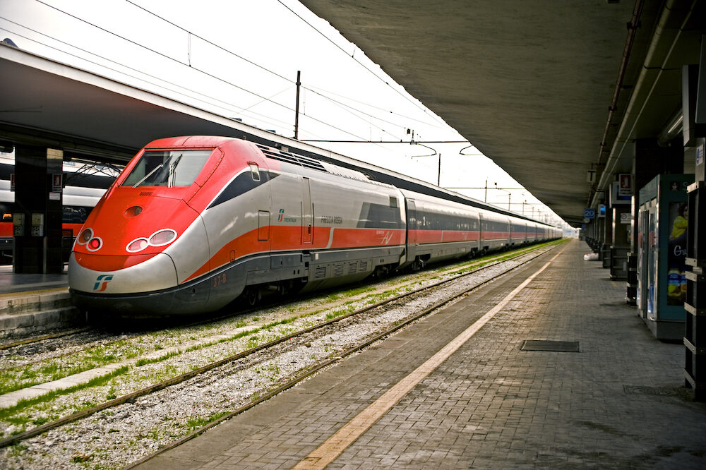 NAPLES, ITALY- High speed train arrives at the Central train station in Naples
