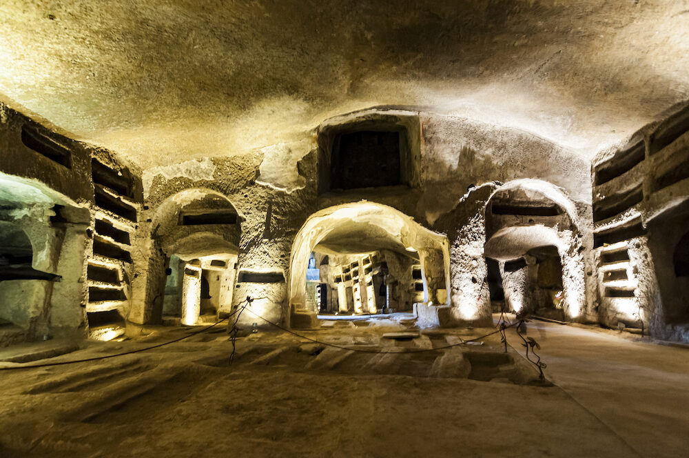 NAPLES, ITALY - inside the Catacombs of San Gennaro in the heart of city of Naples, Italy