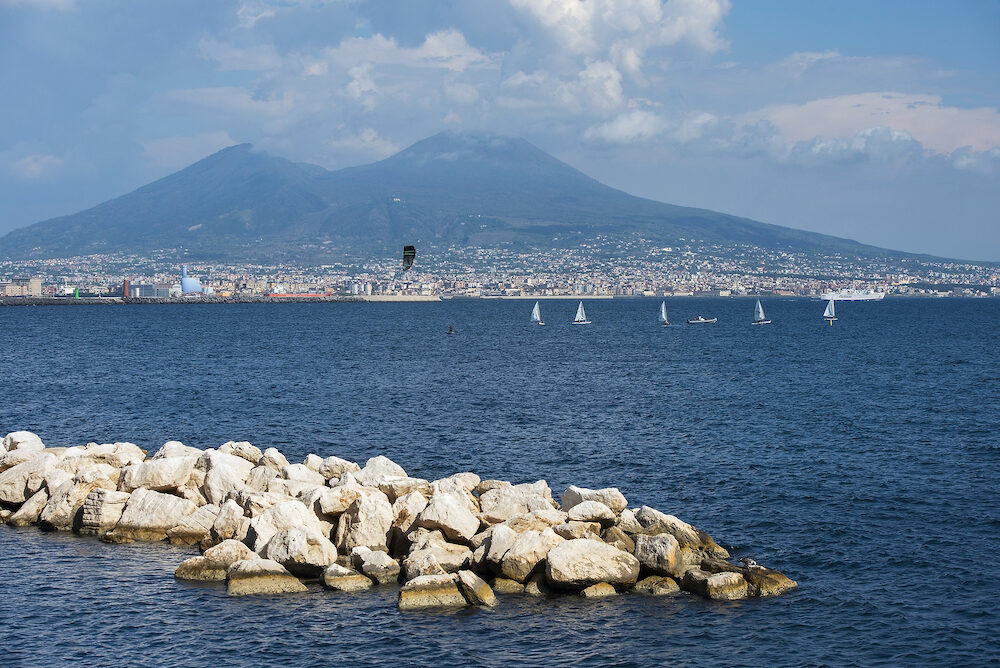 magnificent view of Mount Vesuvius and city of Naples from Gulf of Naples in good weather, Naples, Italy