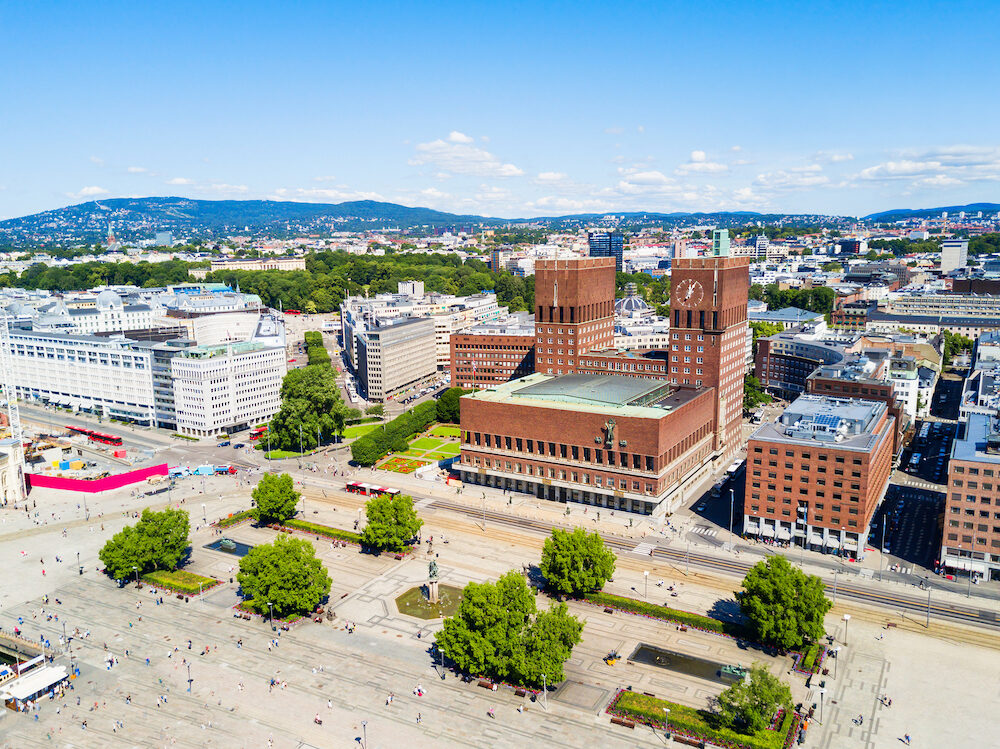 City Hall or Radhus in Oslo, Norway. Oslo City Hall is a municipal building, houses the Oslo city council.