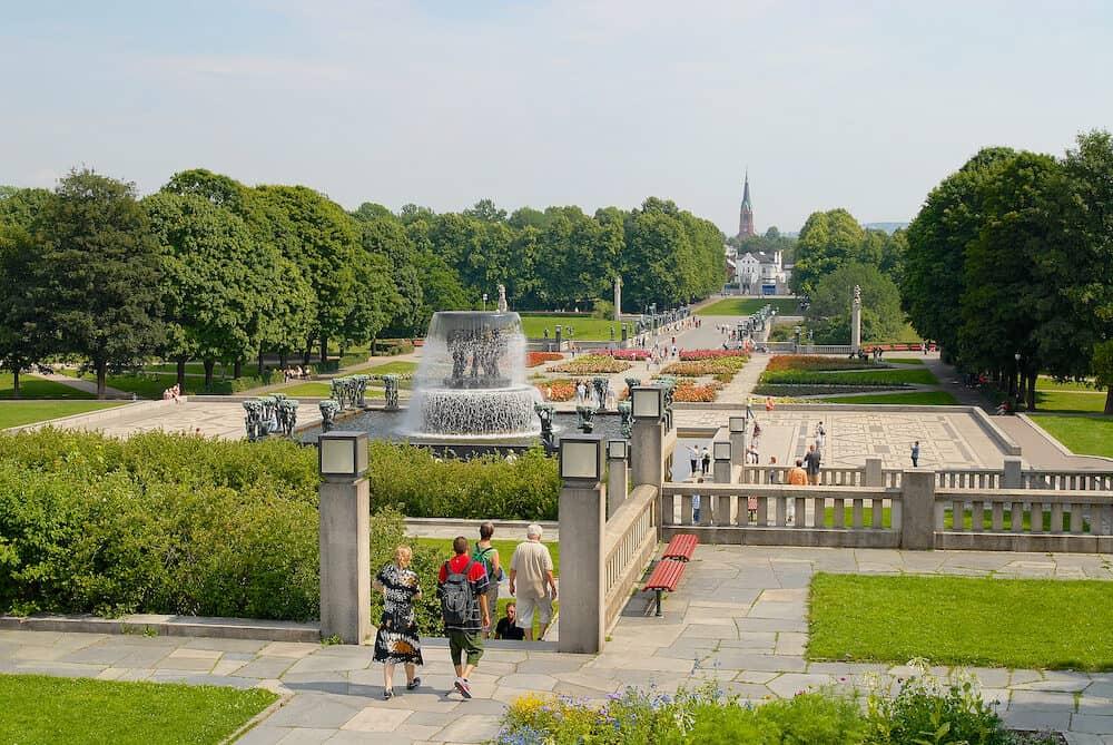 Oslo, Norway - Unidentified people visit Frogner park with artworks of Gustav Vigeland in Oslo, Norway.