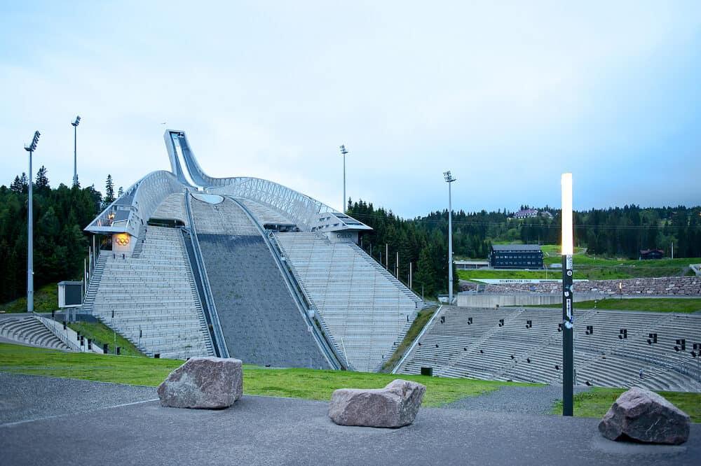 OSLO, NORWAY - Holmenkollen ( Holmenkollbakken ) ski jump in Oslo.