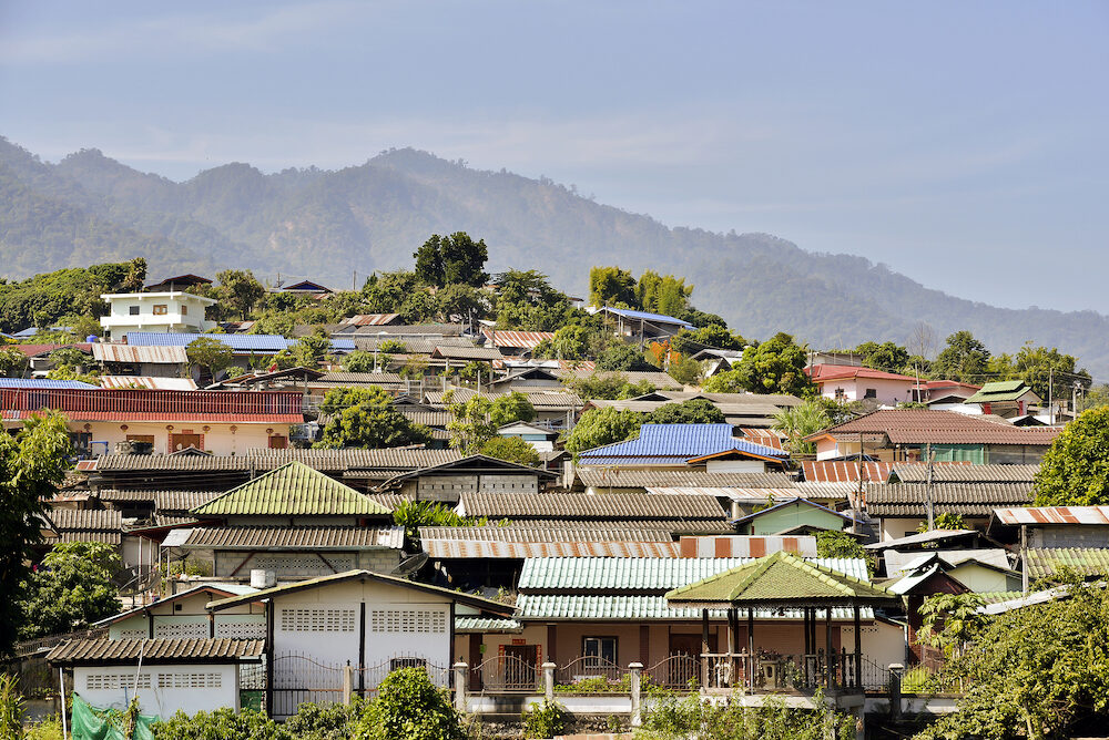 Chinese houses on hill at Santichon village Pai city Mae Hong Son Province Thailand.