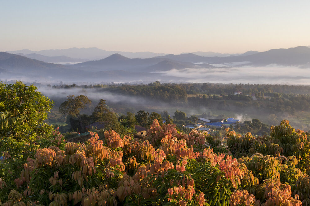 Pai Thailand landscape with mist in the valleys at sunrise from Yun Lai Viewpoint