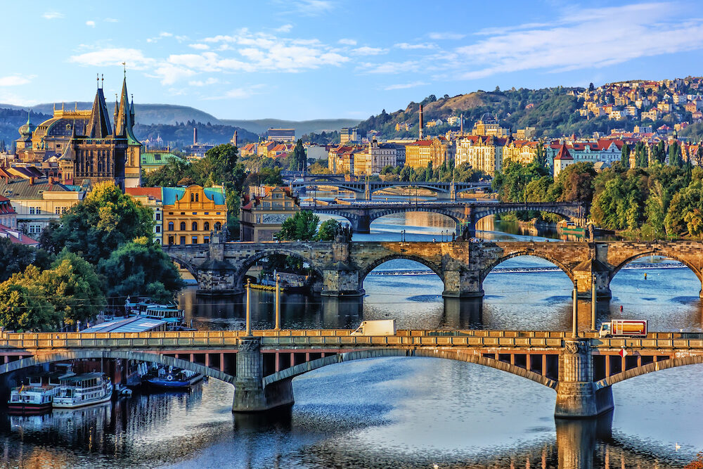 Manes Bridge, Charles Bridge and Legion Bridge view in Prague, C