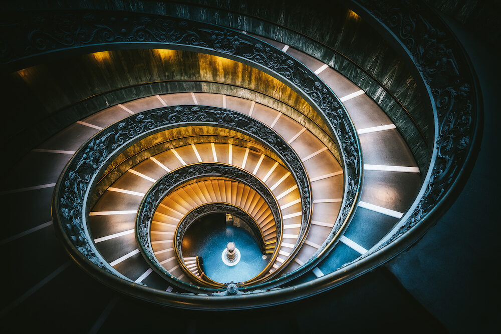 Rome, Italy - Bramante Staircase in Vatican Museums in the Vatican City , Rome , Italy . The double helix staircase is is the famous travel destination of The Vatican and Rome , Italy.