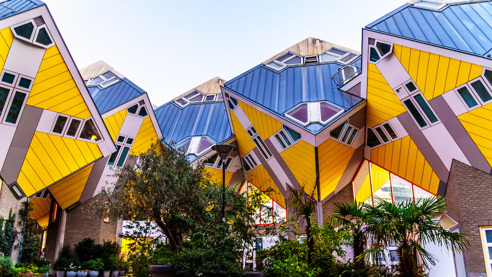 Rotterdam / The Netherlands - Close Up of the architectural wonder of Cube Housing complex in near Blaak Station in the center of the city of Rotterdam