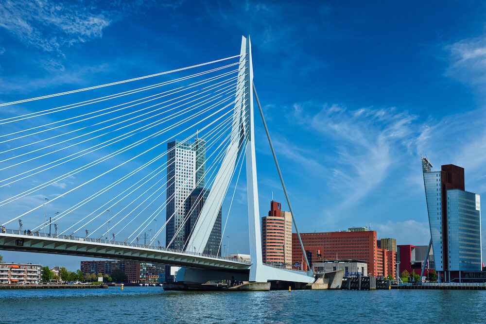 Panorama of Rotterdam cityscape with and Erasmus bridge. Netherlands
