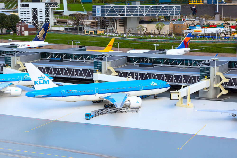 Hague, Netherlands - Madurodam, Holland miniature park and tourist attraction with airport and planes copy
