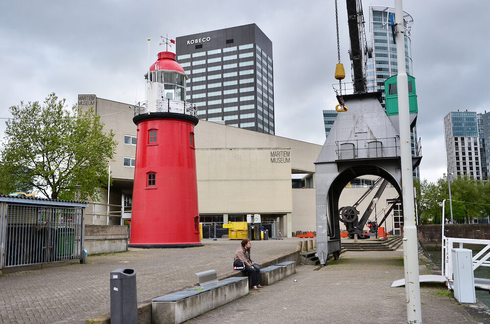 Rotterdam Netherlands - People around maritime museum in Rotterdam the Netherlands. Dedicated to naval history it was founded in 1873.