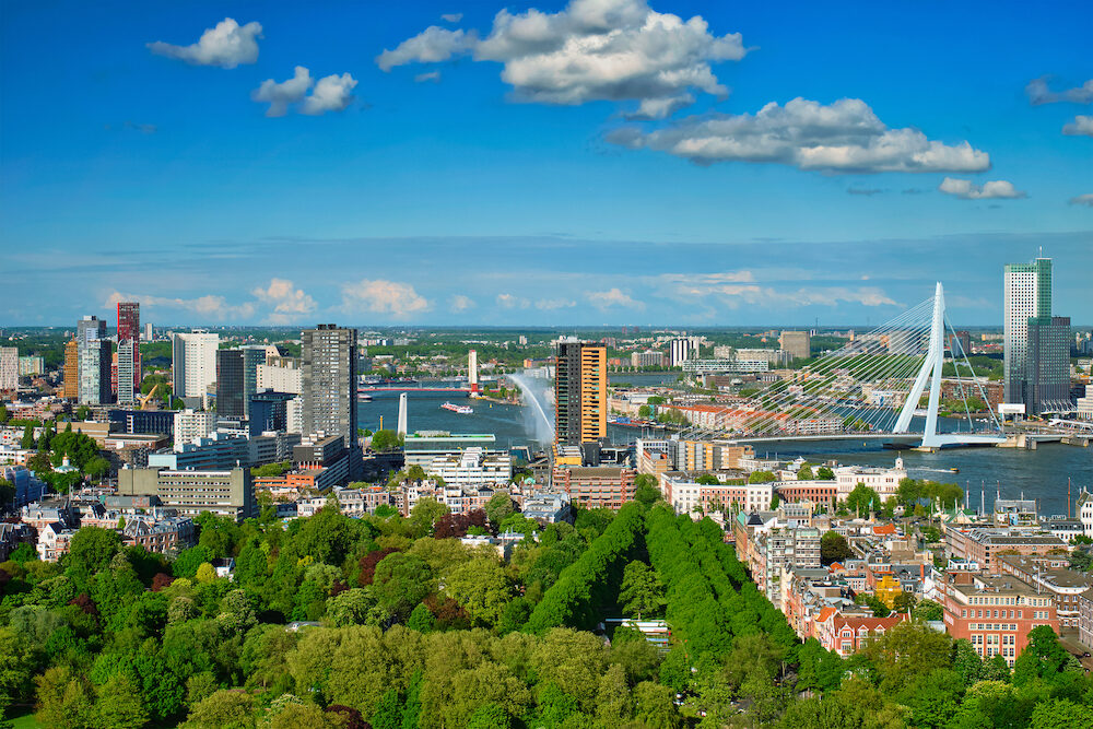 View of Rotterdam city and the Erasmus bridge Erasmusbrug over Nieuwe Maas river from Euromast