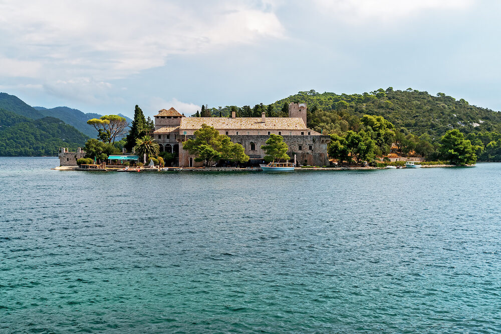 Saint Mary monastery on a little island in Mljet national park - Croatia