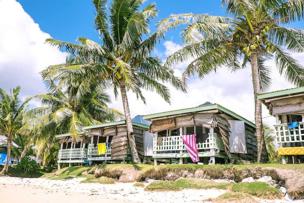 Traditional fale beach hut accommodation on Manase Beach, Savai'i, Western Samoa, South Pacific