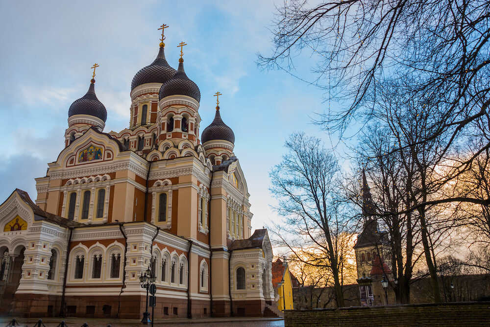 Tallinn, Estonia. View Of Alexander Nevsky Cathedral. Famous Orthodox Cathedral Is Tallinns Largest And Grandest Orthodox Cupola Cathedral. UNESCO World Heritage Site