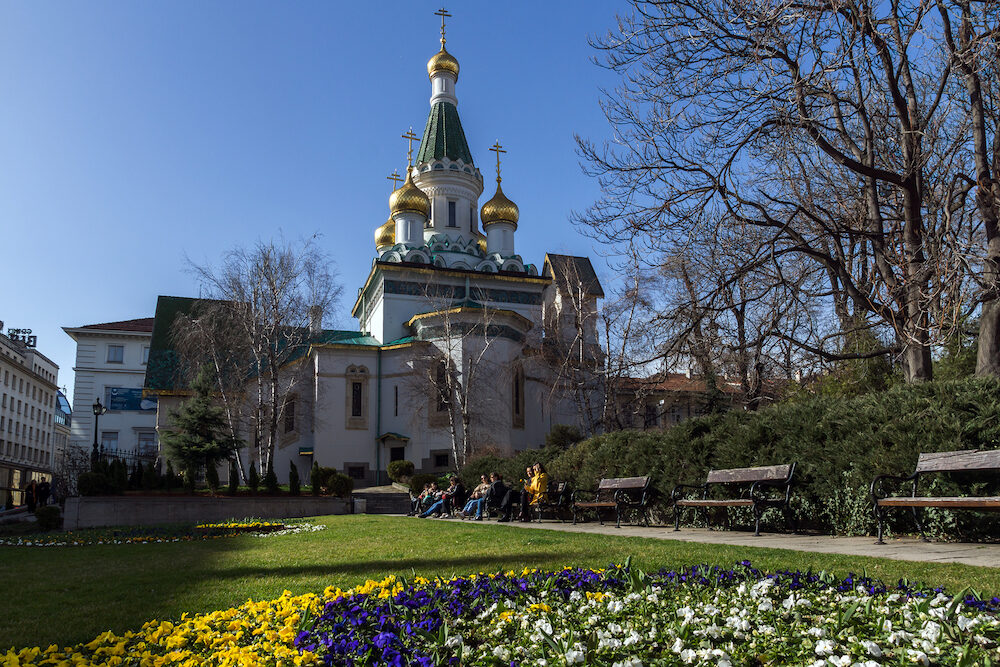 SOFIA, BULGARIA - Amazing view of Golden Domes Russian church in Sofia, Bulgaria