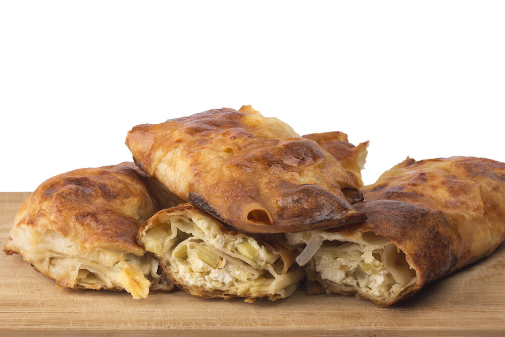 Traditional Bulgarian homemade banitsa with white cheese.