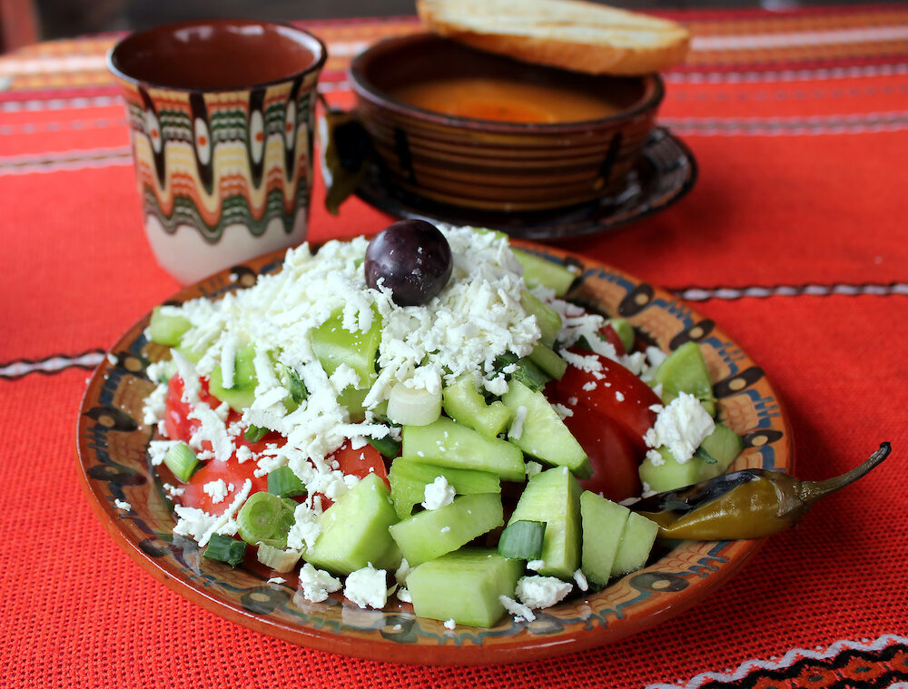 Traditional Bulgarian salad - shopska salad and food