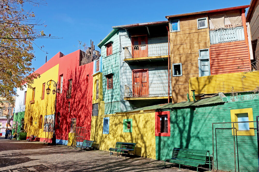 BUENOS AIRES, ARGENTINA, Traditional colorful houses on Caminito street in La Boca neighborhood, Buenos Aires, Argentina, South America