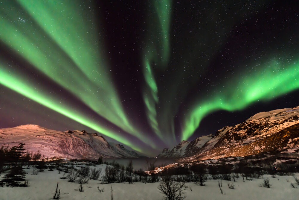 Aurora Borealis (northern lights) in North Norway - Tromso, Kvaloya, Ersfjordbotn