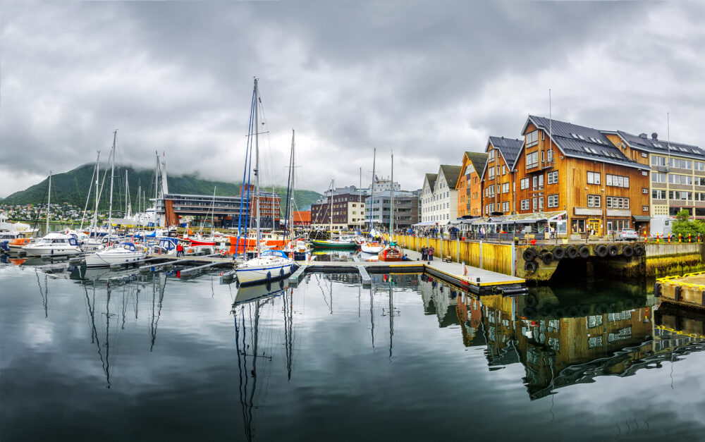 Panoramic View of a marina in Tromso North Norway. Tromso is considered the northernmost city in the world with a population above 50000.