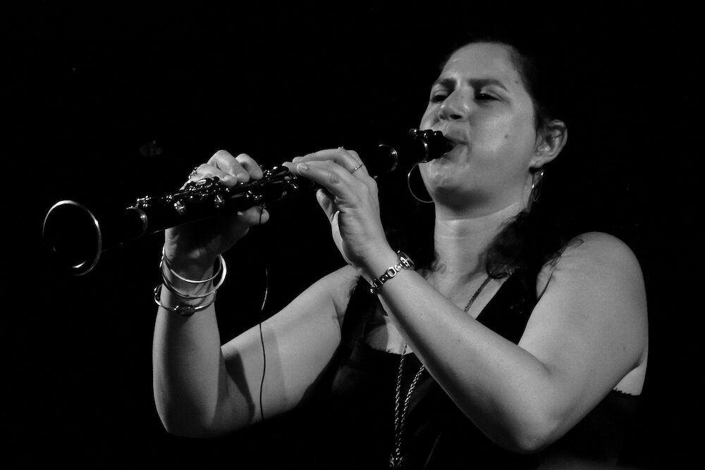 Anat Cohen playing clarinet on main stage at Umbria Jazz Festival in Perugia Italy