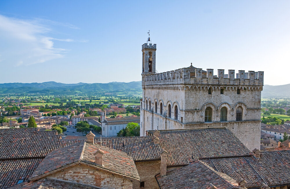 Italy,Umbria,Gubbio, view of the valley with the Dei Consoli palace in the foreground