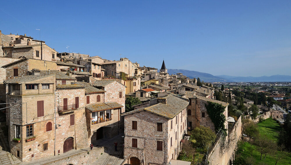 Landscape of Spello medieval town in Umbria, Italy
