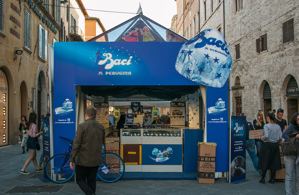 PERUGIA, ITALY - : The stand of Baci Perugina at Eurochocolate festival in the center of Perugia city