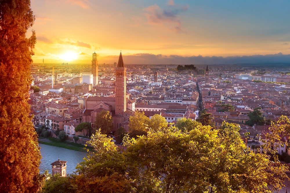 Beautiful sunset aerial view of Verona. Veneto region in italy. Verona sunset cityscape.