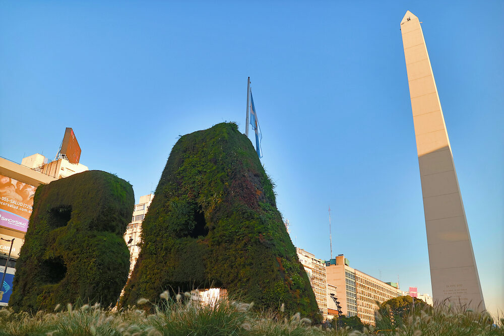 Vertical Garden BA (Buenos Aires city) and the Obelisco on the Plaza de la Republica Square, Buenos Aires, Argentina, South America