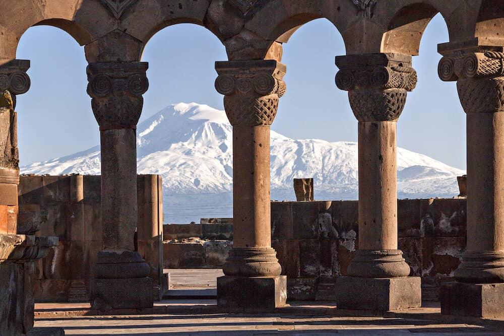YEREVAN, ARMENIA - Mount Ararat through the columns of Zvartnots Cathedral in Yerevan, Armenia.