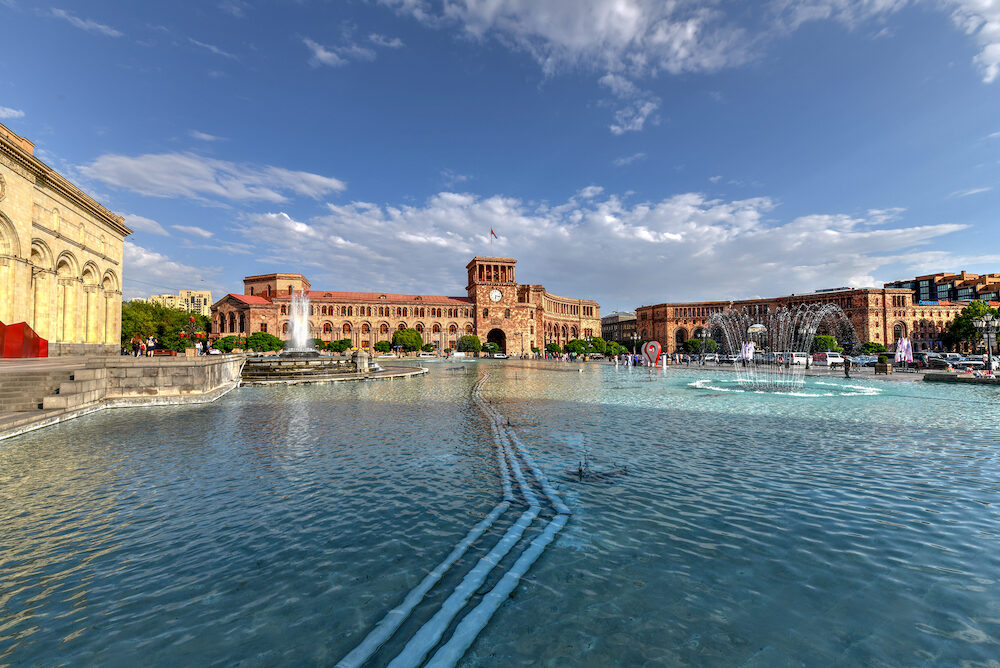 Republic Square, the central town square in Yerevan, the capital of Armenia.
