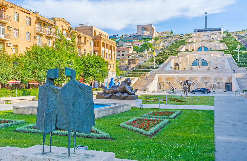 YEREVAN ARMENIA - The Cafesjian sculpture garden located adjacent to Cascade famous stairway and the viewpoint in Yerevan.