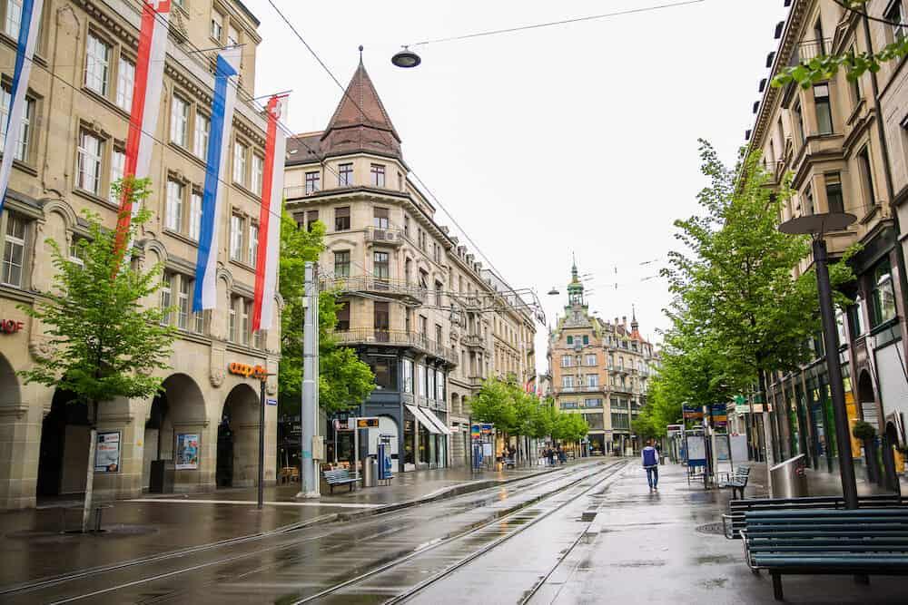 Zurich, Switzerland Bahnhofstrasse. Beautiful old buildings.
