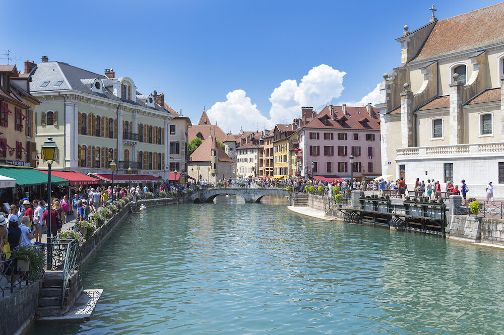 Annecy, France - Cityscape in the sunny city Annecy with canal,on old colorful buildings.