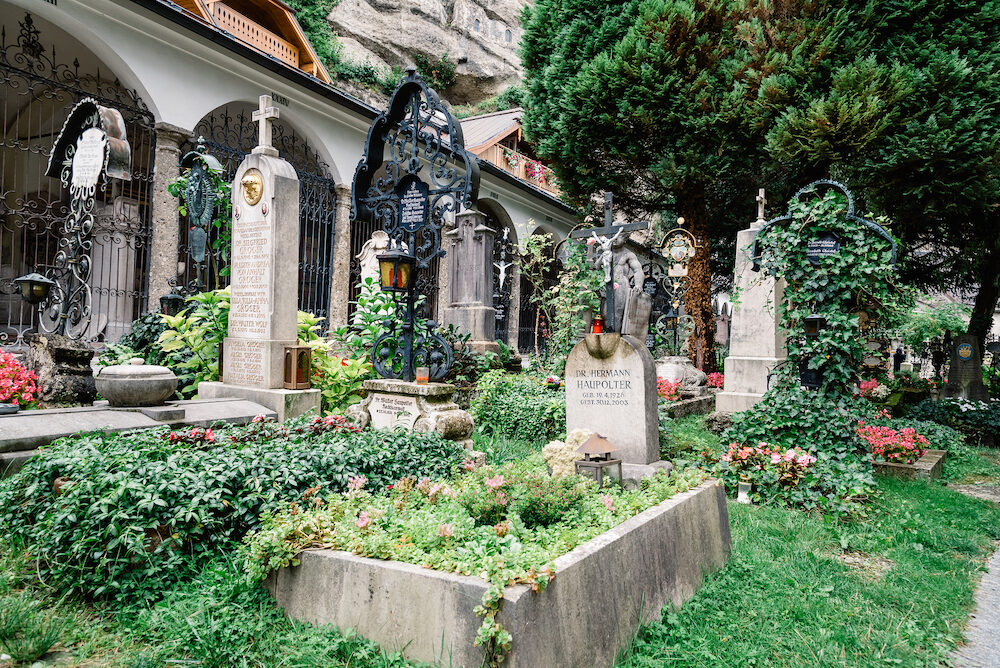 Salzburg, Austria - The Petersfriedhof or St. Peter Cemetery is located at the foot of the Festungsberg with Hohensalzburg Castle.