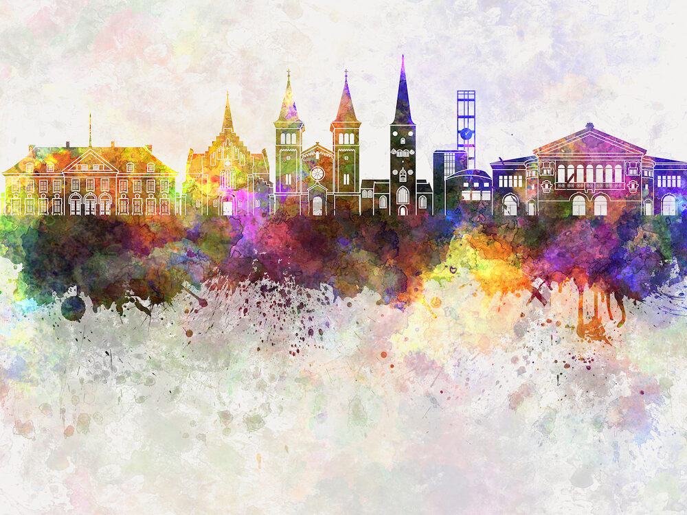 Aarhus skyline in watercolor artistic abstract background
