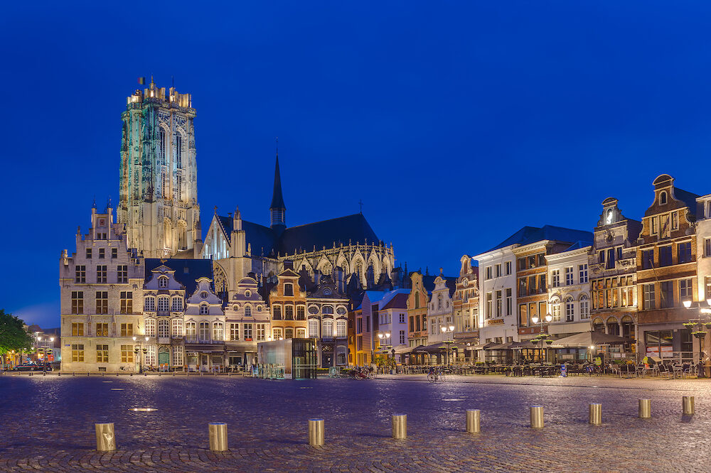 Mechelen, Belgium - Grote Markt in Mechelen at sunset.