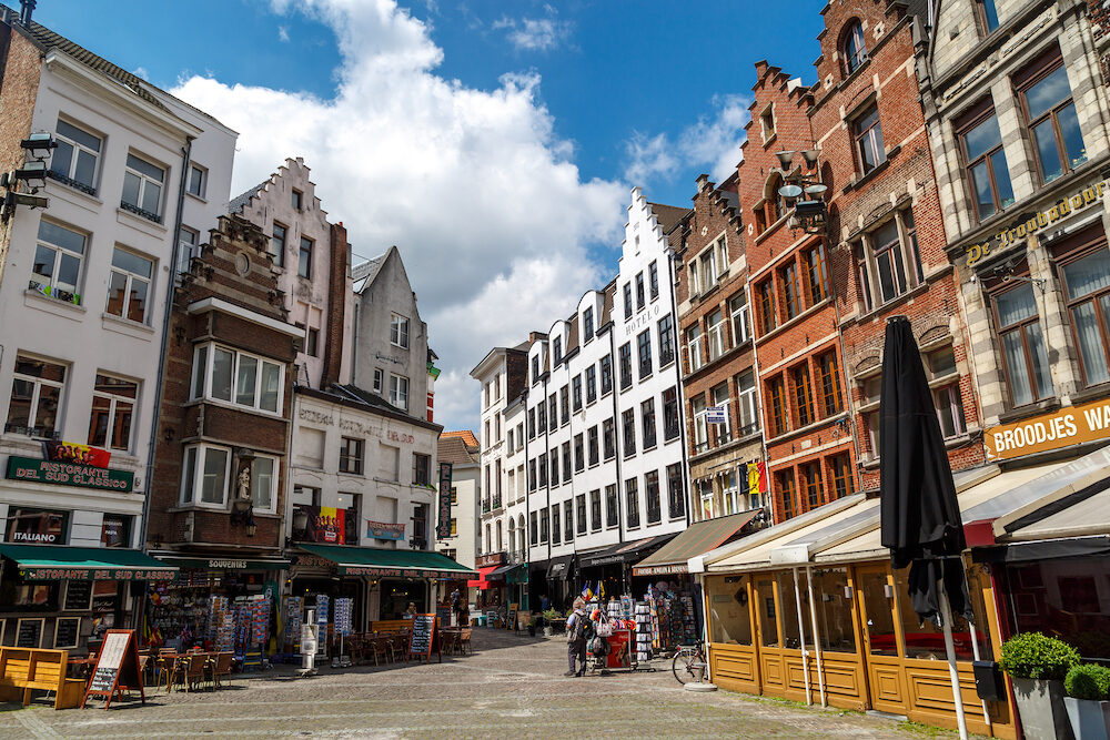 ANTWERP BELGIUM - : Historical city hall and old town of Antwerp with stylish architecture. Antwerp is the capital city in the region of Flanders Belgium