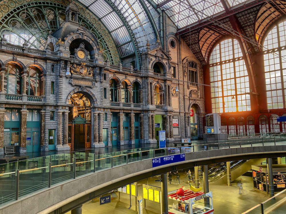 Antwerp, Belgium - Inside the monumental Antwerp Train Station. Antwerp Central is often considered to be one of the most beautiful railway stations in the world.
