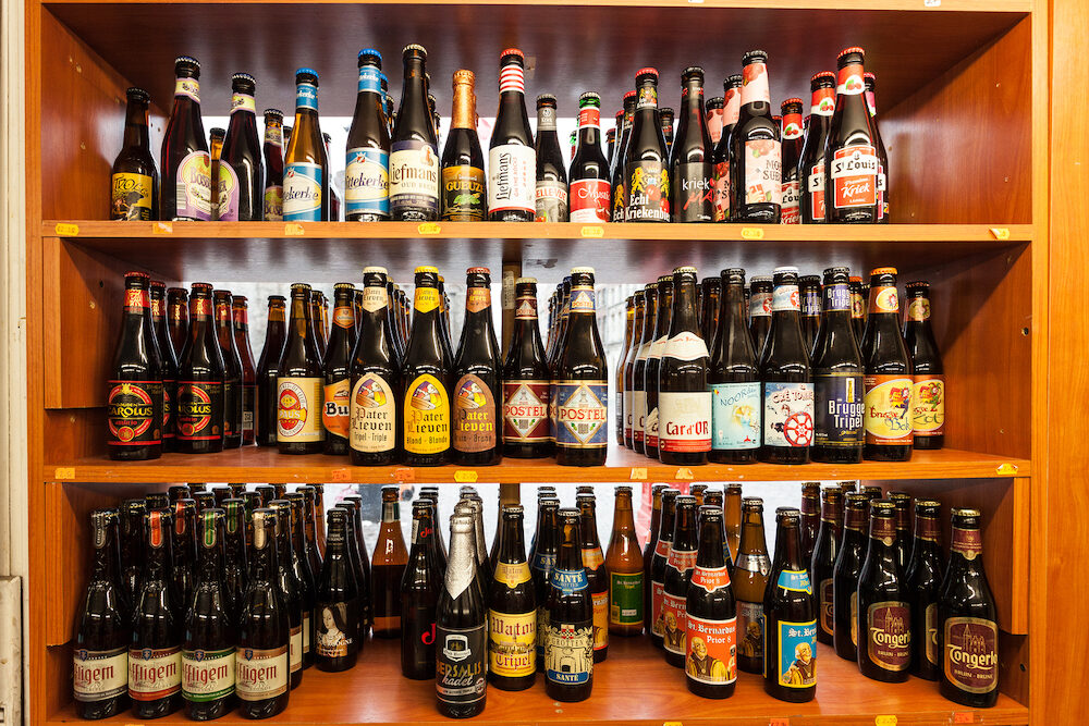 GHENT BELGIUM -: Selection of traditional belgian beer in a small shop in Ghent.