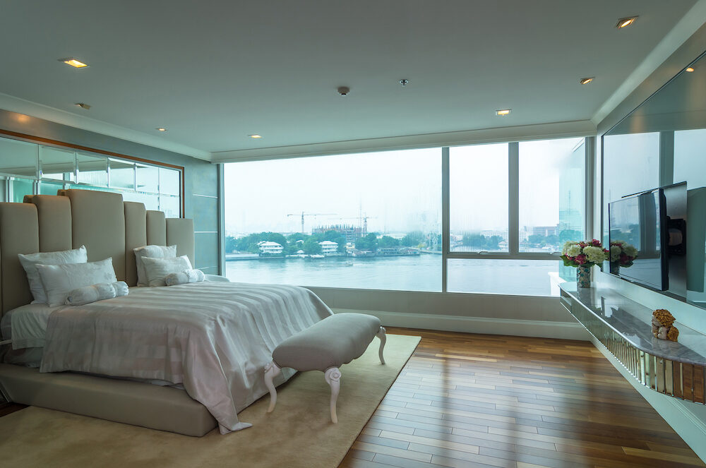 BANGKOK THAILAND - Luxury Interior bedroom at My resort as river condominium beside the chao phraya river in Bangkok Thailand