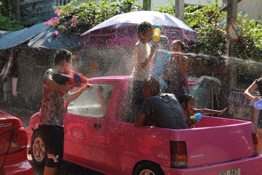 BANGKOK, THAILAND - Water fight in Songkran Festival Thai New Year in soi Kraisi.