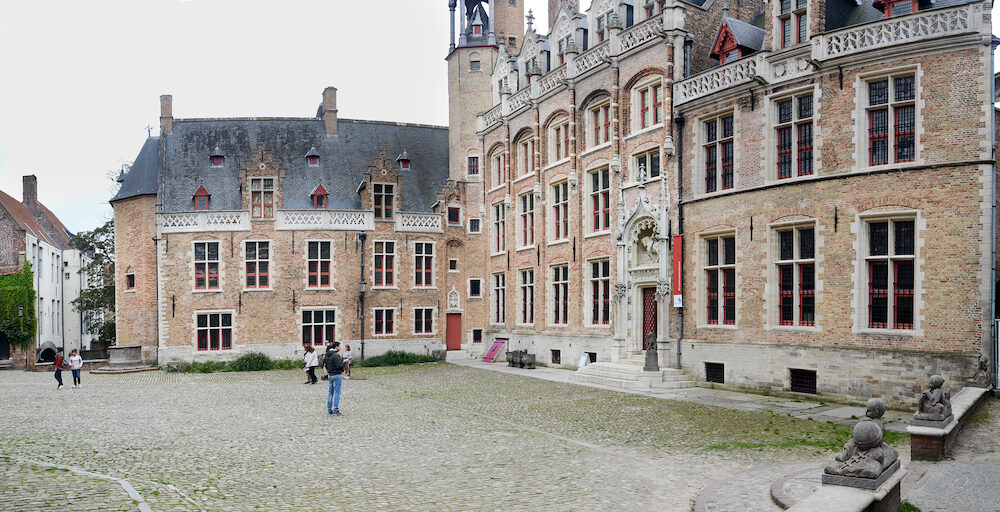 BRUGES, BELGIUM - Large panoramic view of Gruuthusemuseum (Gruuthuse Museum). Is a museum of applied arts in Bruges