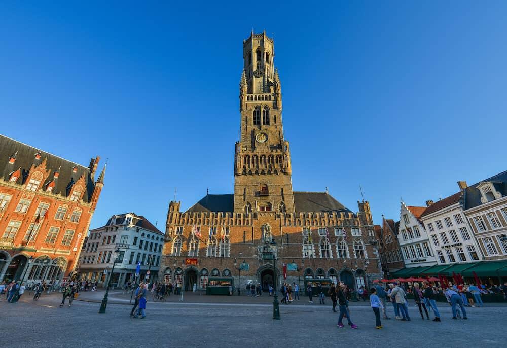 Bruges, Belgium - The Belfry of Bruges (Belfort van Brugge), Belgium. It is a medieval bell tower (82m) in the centre of Bruges.