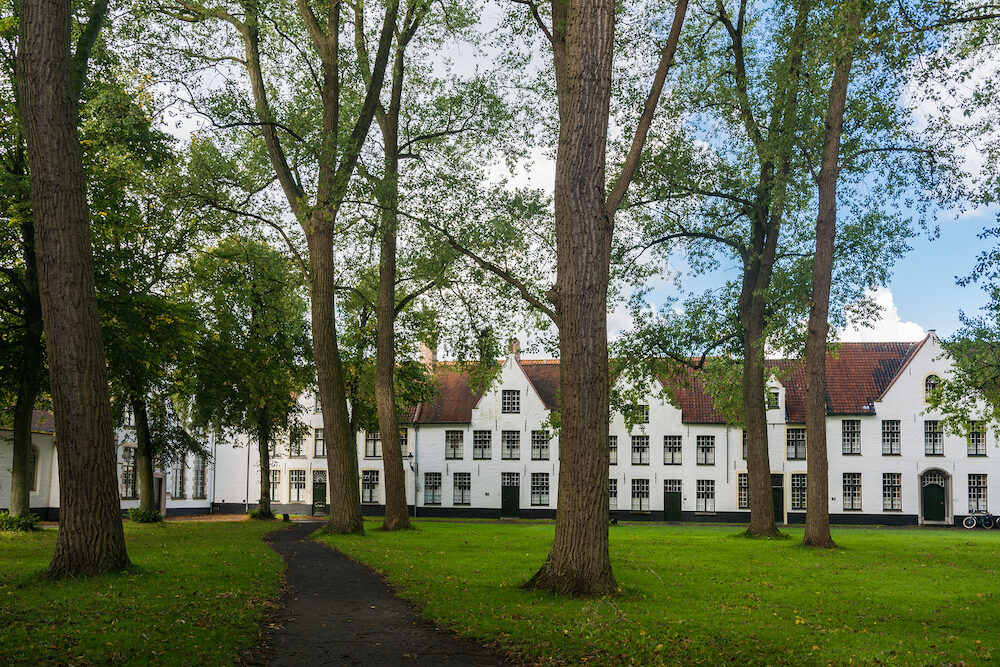 Bruges, Belgium - The Princely Beguinage Ten Wijngaerde is the only preserved beguinage in Bruges. There are no more Beguines living there, but it functions as a convent for Benedictines
