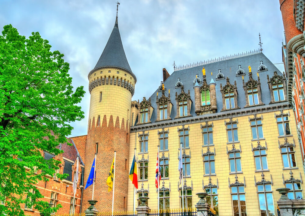 Bruges, Belgium - View of Hotel Dukes Palace, former residence of the County of Flanders and the Duchy of Burgundy